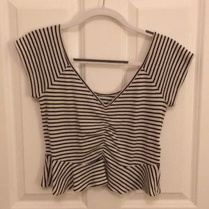 American Eagle Ribbed Peplum Crop Top
